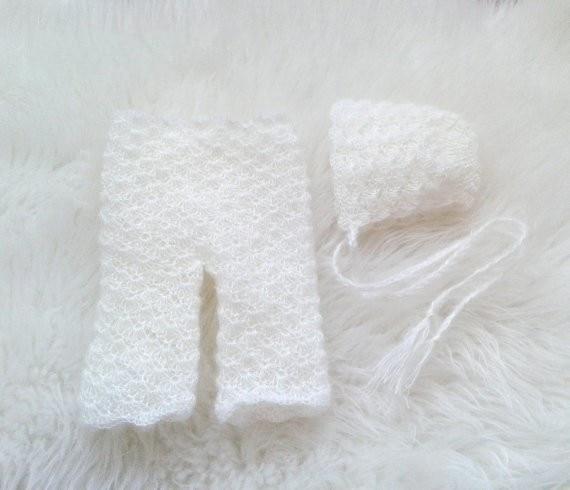 Комплект из капота и брюк из мохера - Одежда для малышей