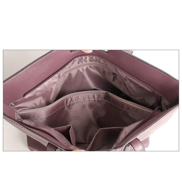solid 3 pcs/set PU leather shoulder strap bag women 2018 New high quality crossbody bags Ladies fashion small clutch bag 4
