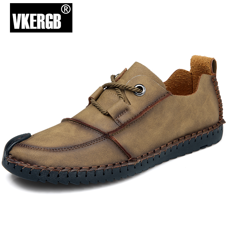2018 Genuine Leather Loafers Men brand Designer Casual Men Shoes Lace Up Shoes Men Classic Fashion Male Khaki Shoes VKERGB benefit precisely my brow pencil карандаш для разделения бровей 03 medium коричневый