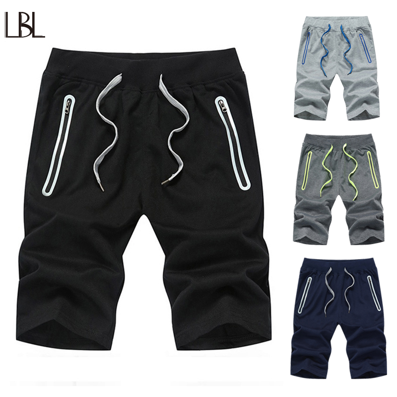 LBL Casual Mens Shorts Bodybuiding Board Short Men Streetwear Zipper Pocket bermuda masculina Solid Knee Length Summer Trousers