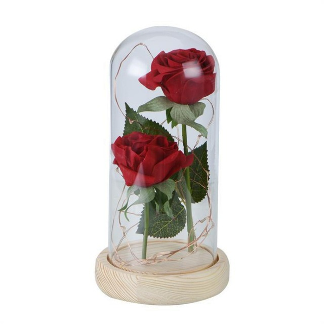 Artificial Rose Beauty Beast Red Rose In A Glass Dome On A Wooden