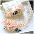 Pretty Pink Marfim secas Conjunto Tiara De Noiva Tiara de Casamento Feitas À Mão flor de Cabelo Pinos Acessórios Para o Cabelo Cocar de Jóias Mulheres