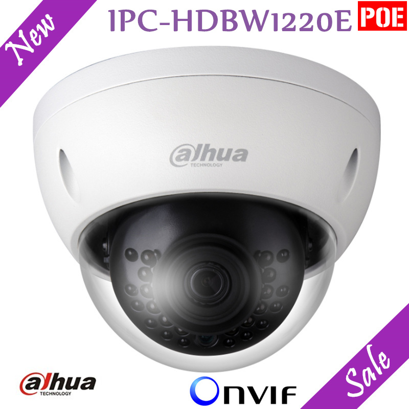 New English Version Dahua 2MP IP Camera HD Network IR Dome Mini Camera IPC-HDBW1220E IP67 Support POE and Onvif Security Camera original oem english version ds 2cd2120f is mini dome camera full hd 2mp 2 8mm support poe