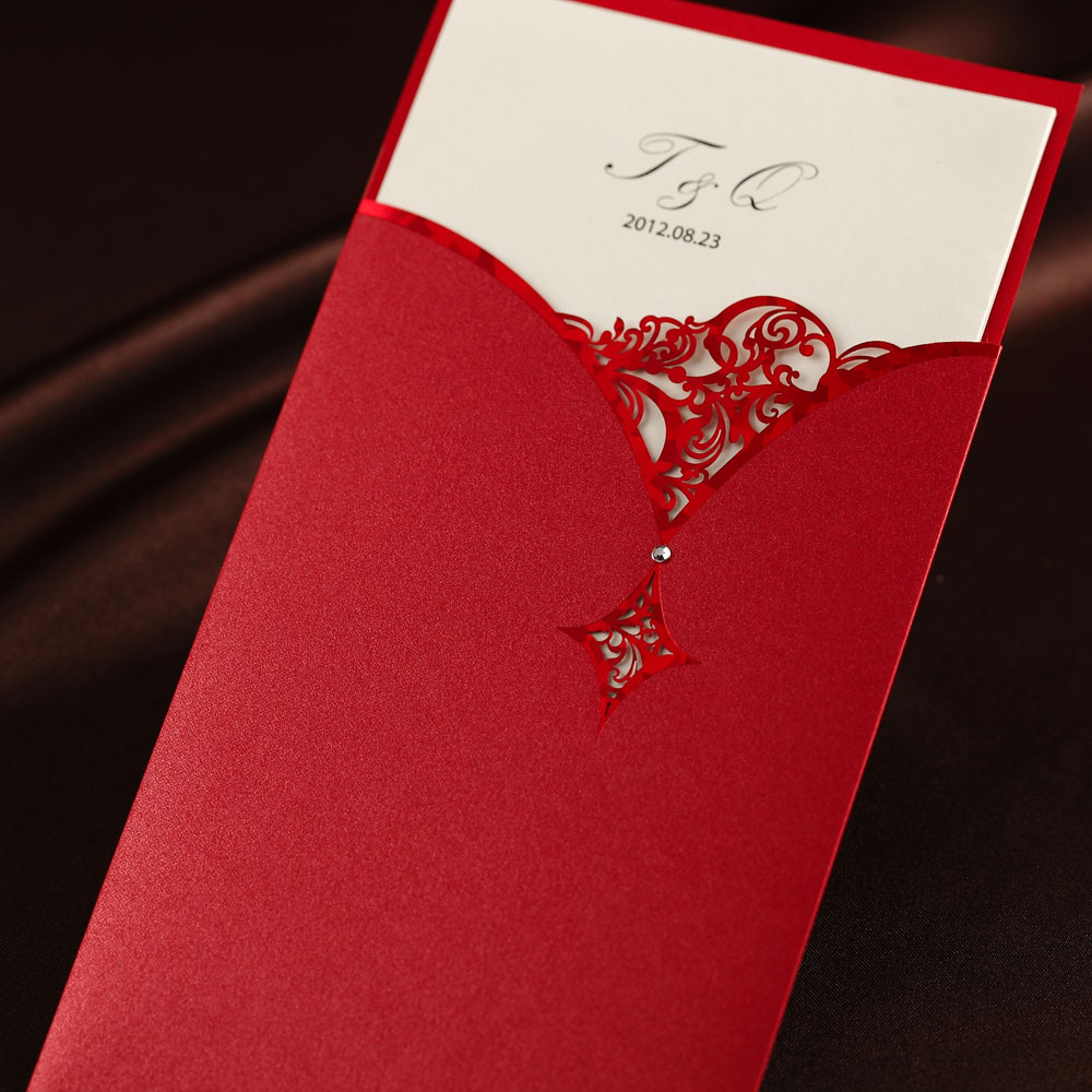 Chinese Red Classic Elegant Emboss Birthday/Business Wedding ...