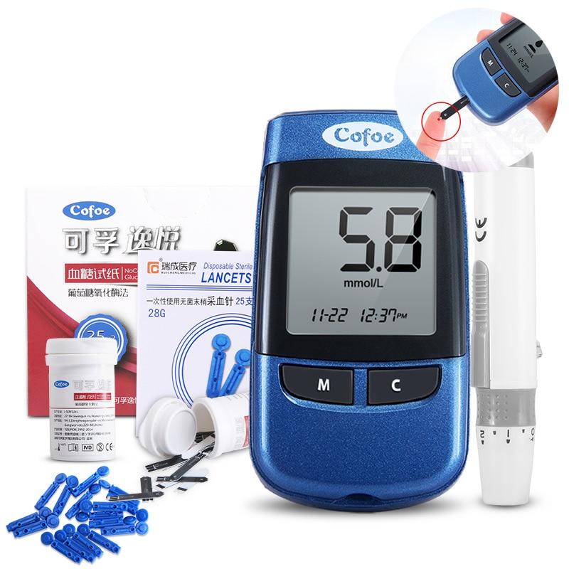 Cofoe Yiyue glucometer diabetes No coding glucose meter medical blood sugar monitor & 50/100pcs Test Strips and lancets needles(China)