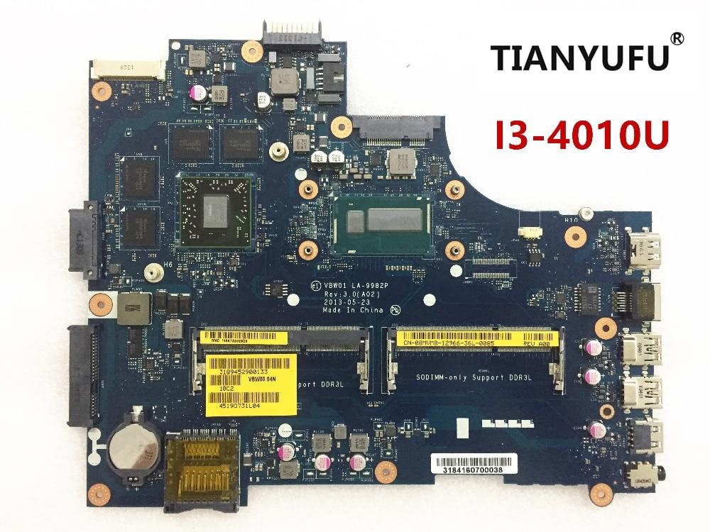 Новинка для inspiron 5537 3537 материнская плата для ноутбука LA-9982P материнская плата SR16Q I3-4010U CPU DDR3L материнская плата для ноутбука протестированная...