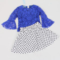 Spring autumn kids Girls clothes sets European American Pattern suits children clothing Half sleeve Blue coat+dress kids clothes