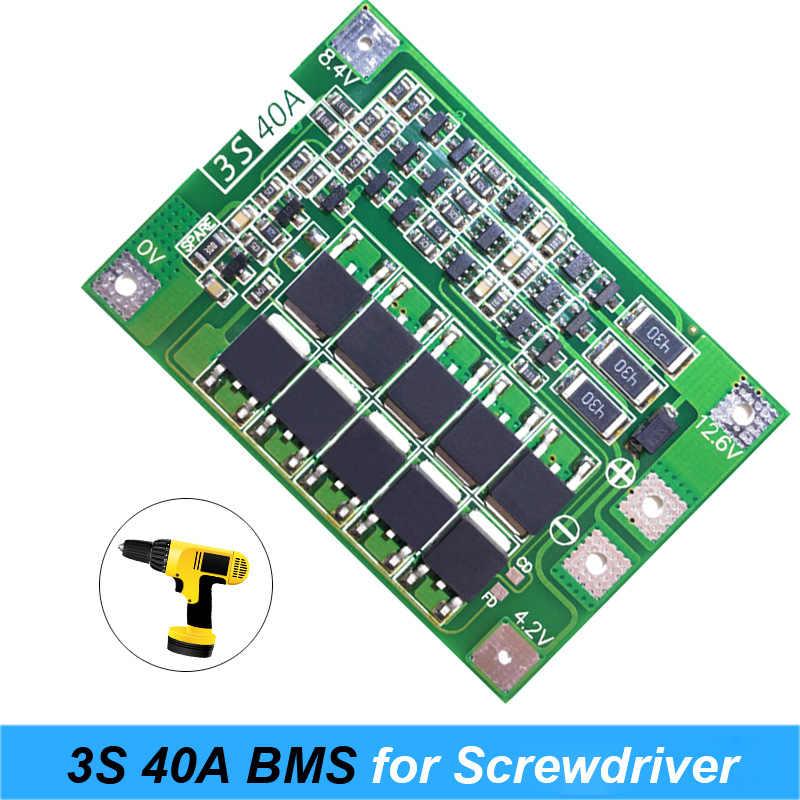 Новое предложение, партиями по 3 S 40A для отвертка аккумуляторная батарея 12 V li-ion 18650 BMS батарея PCM Защитная плата BMS PCM с балансом батарея li-ion для мобильного модуль обновления