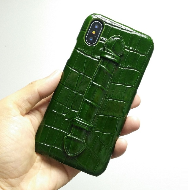 newest 21023 c2619 Genuine Leather Hand Strap Case For iPhone Xs Max Xr X Cell Phone Luxury  Crocodile Ultra Thin Slim Hard Holder Cover Cases GREEN