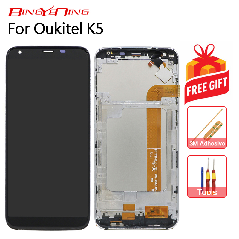 BingYeNing New Original For OUKITEL K5 Touch Screen LCD Display Frame Assembly Replacement