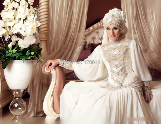 2015 New Arrival Chiffon Muslim Bridal Gown Long Sleeves Dubai