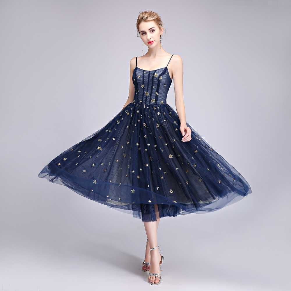 cbd8c2697f6 ... SSYFashion New Simple Evening Dress Robe De Soiree Elegant Tea-length  Navy Blue Star Pattern ...