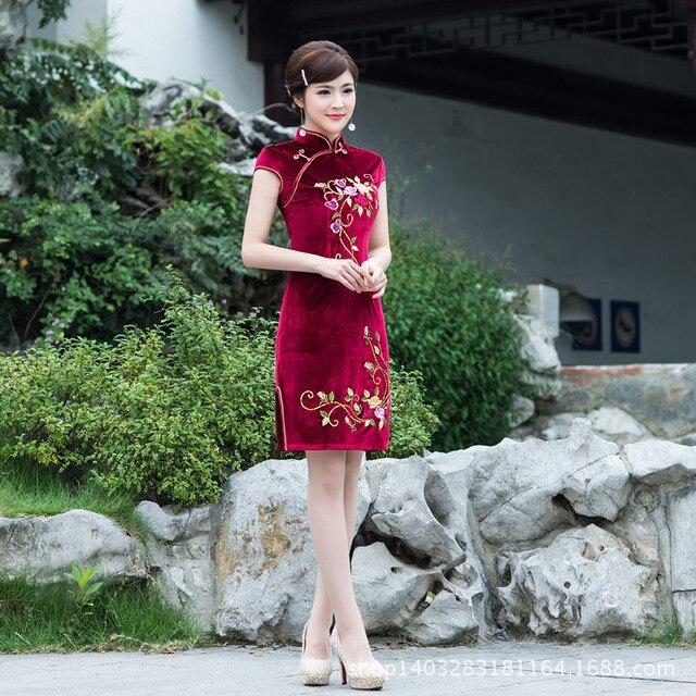 06dc89d4d Spring silk velvet embroidery cheongsam women dress Chinese wedding dress  vestidos tang suit Qipao party dress