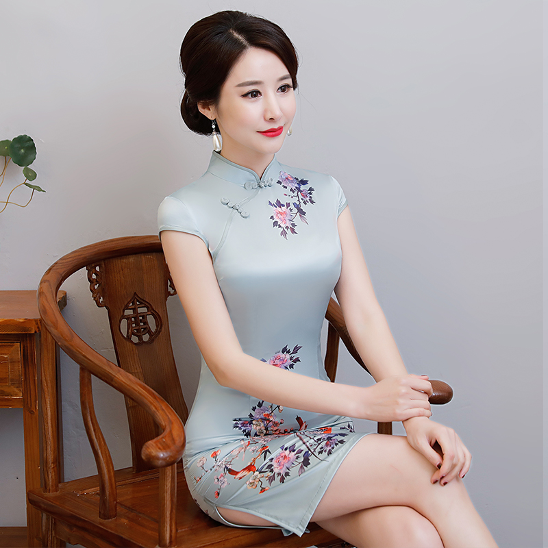 New Arrival Women's Satin Mini Cheongsam Fashion Chinese Style Dress Elegant Slim Qipao Clothing Size S M L XL XXL 368483 1