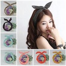 1Pc Cute Leopard Dots lip print flower Bunny Rabbit Ear Ribbon Headwear Hairband Metal Wire font