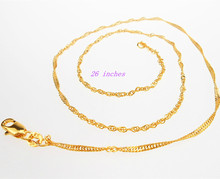 Free shipping 26inhces 1PCS GOLD Filled GOLD FILLED Making Jewelry Water Wave Necklace Chains With Lobster Clasps