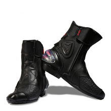 Motorcycle Boots Wear-resistant Microfiber Leather Racing Motocross Motorbike Riding Mid-Calf Boots Shoes Protective Gear