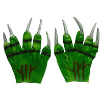 New Halloween Latex Gloves Green Horror Rubber Latex Gloves Decoration Hand Mascara Supplies Citrouille Halloween Hot