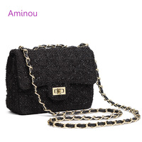 Aminou Women Small Wool Messenger Bags For Girls Luxury Handbags Women School Bags Designer Chain High