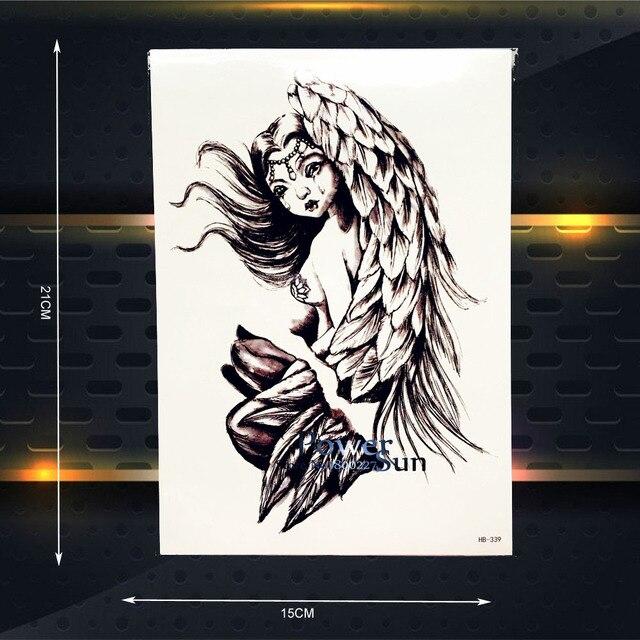 Dark Angel Wings Waterproof Temporary Tattoo Black Henna Designs