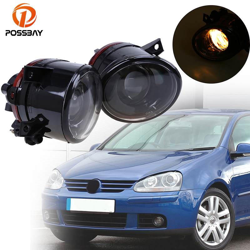POSSBAY Halogen Fog Lights Assembly Yellow Bright Fog Lamps For VW Golf 5/ST Front External Lights Auto Exterior Accessories projector lens front fog lights for vw new caddy