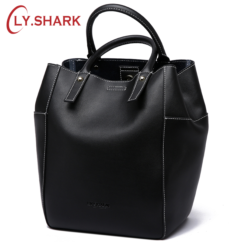 LY.SHARK Brand Luxury Handbags Women Bags Designer Large Shoulder Messenger Bag Casual Bucket Lady Genuine Leather Bags Tote New genuine leather fashion women handbags bucket tote crossbody bags embossing flowers cowhide lady messenger shoulder bags