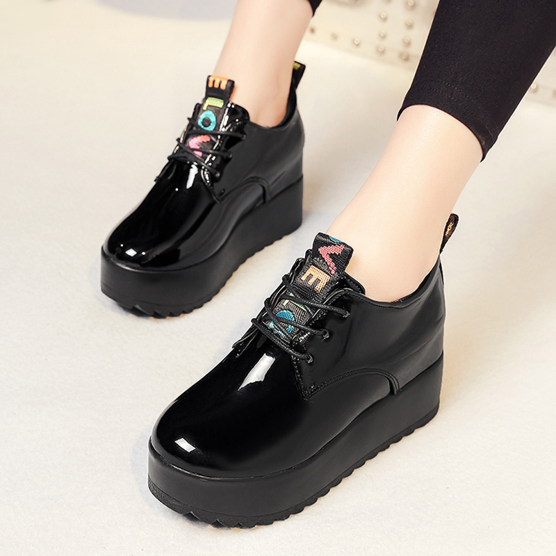 Spring Summer Women Platform Sneakers Casual Shoes Woman Elevator Lace Up Loafers Platform Wedges Ladies Creepers Solid Oxfords
