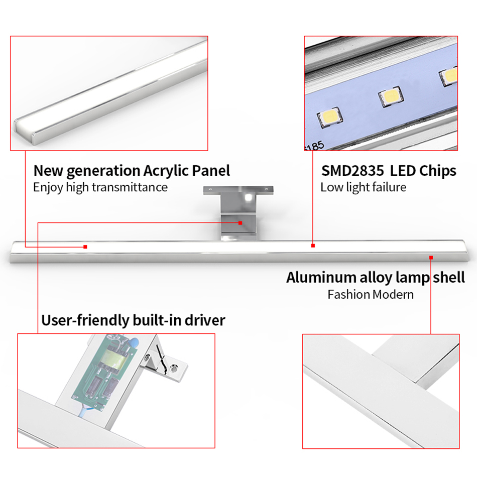 Image 5 - 2in1 Linson 60cm 8W 650lm IP44 CE ROHS Chromed Led Bathroom Mirror Light wall mounted led lamp led cabinet light-in LED Indoor Wall Lamps from Lights & Lighting