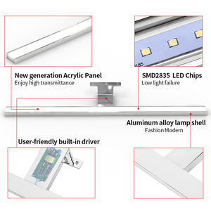 Image 5 - 2in1 linson 60cm 8 w 650lm ip44 ce rohs chromed led 욕실 거울 빛 벽 마운트 led 램프 led 캐비닛 빛