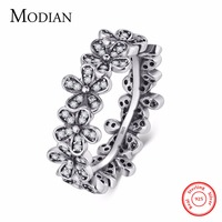 Modian Authentic 100 925 Sterling Silver Ring Flowers Clear CZ Stackable Wedding Shining Fashion Jewelry For