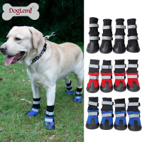 High Quality 4pcs Set Waterproof Dog Shoes Reflective Pet Dog Shoes Anti Slip Durable Large Dog