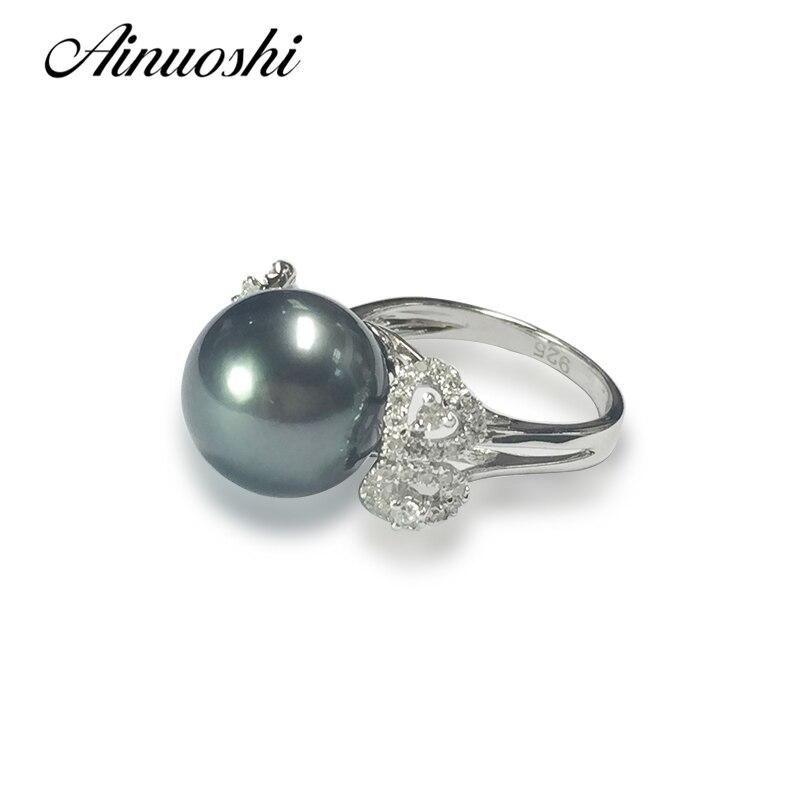 AINUOSHI 925 серебро слышать форме Для женщин обручальное кольцо таитянский жемчуг 12 мм круглый жемчуг Юбилей Lover кольца ювелирных изделий