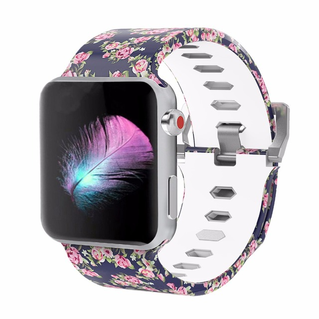Bemorcabo печати красочный замена спортивный ремешок для Apple Watch Series 3/2/1, мягкие силиконовые браслеты полосы ремешок для iwatch 42 мм