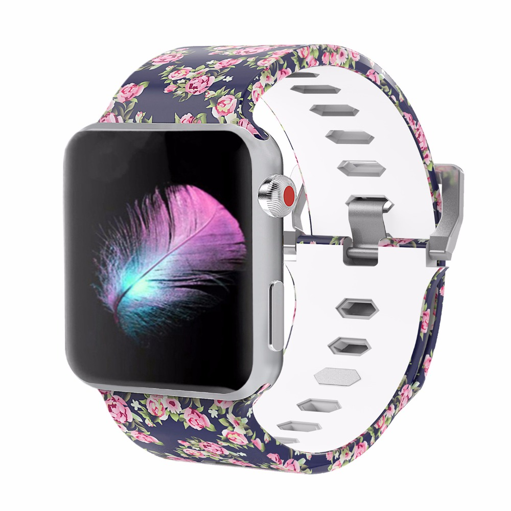 Bemorcabo Print Colorful Replacement Sport Band for Apple Watch Series 3 2 1 Soft Silicone Wristband Strap Bands for iwatch 42mm in Watchbands from Watches