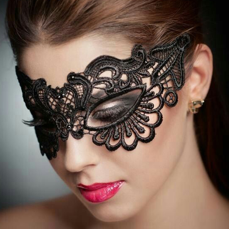 Valentine's Day Black Enchanting Lace Eye Mask Sex Accessories Hollow Out Women Halloween Mask Sex Products CF80609