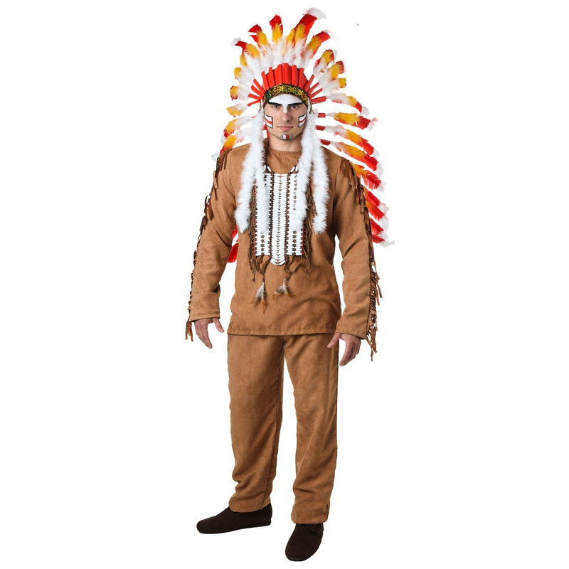 New Adult Men Village People Indian Cosplay Clothing Halloween Deluxe With Elaborate Feather Headpiece Costume