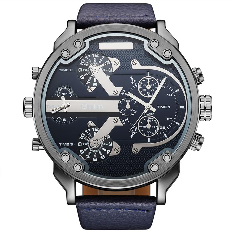 Prix pour Oulm Top Marque De Luxe Multiple Fuseau horaire Hommes Montres Énorme grande Taille Homme Sport Montre-Bracelet Analogique En Cuir Tissu Quartz montres