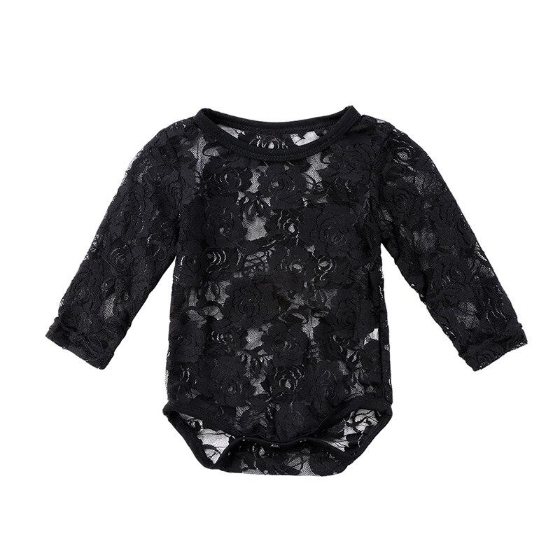 0-18 Mt Neugeborenen Baby Mädchen Spitze Body Langarm Solid Weiß/schwarz Floral Sunsuit Tops Baby Kleidung 0-18 Mt