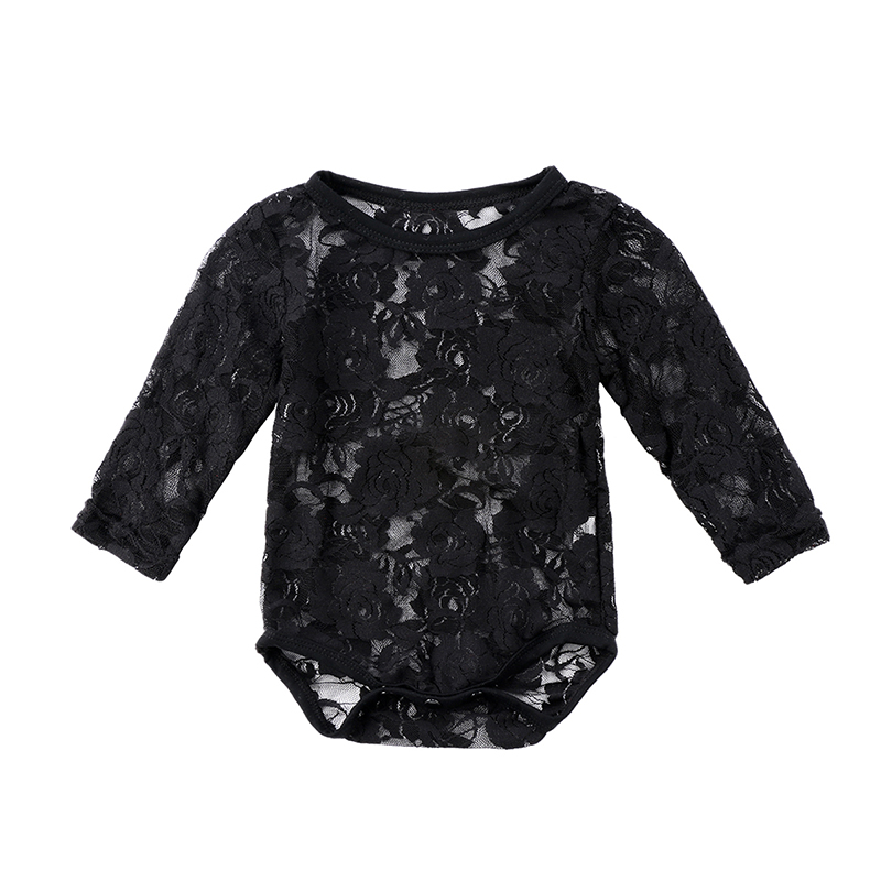 0-18M Newborn Infant Baby Girl Lace Bodysuit Long Sleeve Solid White/Black Floral Sunsuit Tops Baby Clothes 0-18M