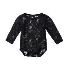 0-18M Newborn Infant Baby Girl Lace Bodysuit Long Sleeve Solid White/Black Flora