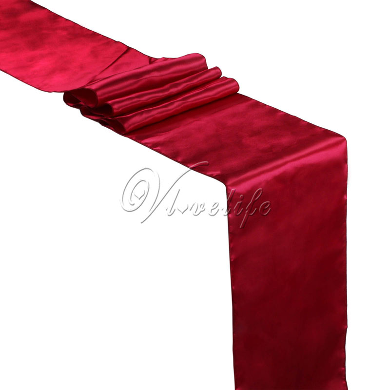 """Free Shipping 10PCS New Burgundy Satin Table Runners 12"""" x 108'' Wedding Party Banquet Home Hotel Decorations 30cm x 275cm"""
