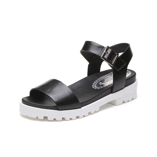 23cef749a5 2018 New Spring Summer Women sandals female robe thick platform buckle with  Roman light Black sandals shoes AA28