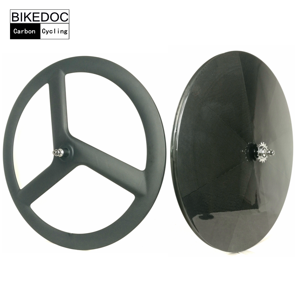 BIKEDOC 700c Front 3 Spoke Wheel Rear Carbon Disc WheelT700 Fixie Wheel /Track Wheelset /Road Bike Wheels fixie bicycle 5spoke single speed fixed gear fixie track wheel and wheelset 700c all colors available fixie bike velo wheel