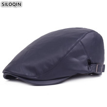 SILOQIN Adjustable Size Mens PU Leather Berets 2019 New Autumn Winter Tongue Caps For Men Women Bone Womens Warm Hat