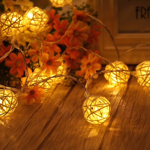 1.2m 3.94ft 10 LED Rattan Ball Fairy String Light with Battery Operated Lamp for Christmas Festival Wedding Party Home Decor
