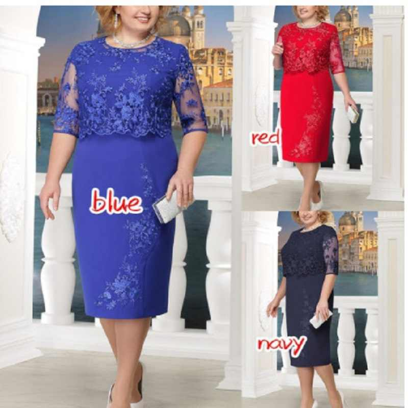 ... 2019 Brand Plus Size 6XL Summer Dress Hot Fashion Elegant Sexy Lace  Stitching Large Size Dress ... 053c93602b98