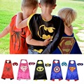 1Cape+1Patch Kids Children Baby Cartoon Pattern Hero Superman Cloak Cosplay superhero capes batman spiderman  boy