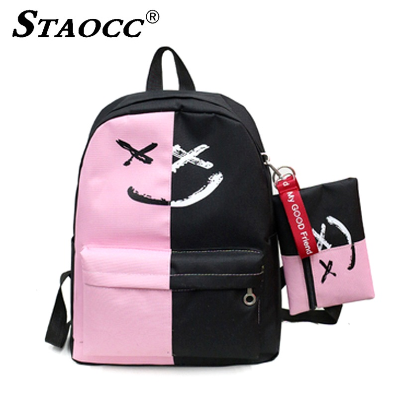 2pcs set Patchwork Student Backpack School Bag For Teenage Girls Korean Harajuku Women Laptop Backpack Casual Travel Bagpack in Backpacks from Luggage Bags