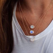 fashion jewelry asymmetry stone moonstones gold color elegance stunning european women hot design delicate chain stone necklace