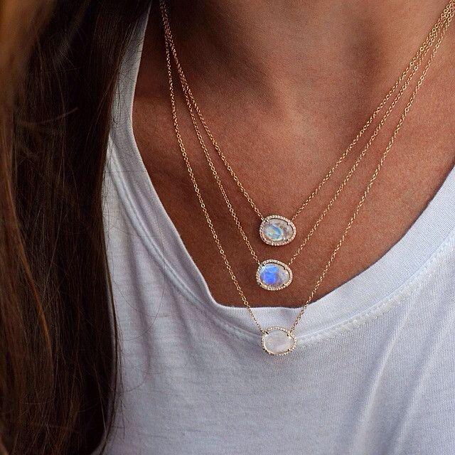 fashion jewelry asymmetry stone moonstones gold color elegan